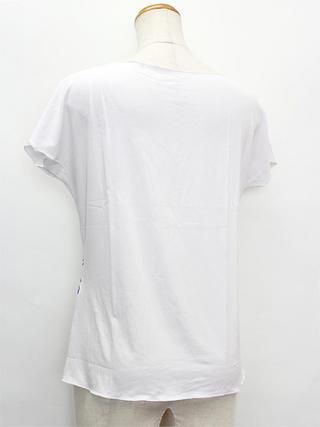PUKANA ノースリーブストレッチTシャツ モンステラホワイト