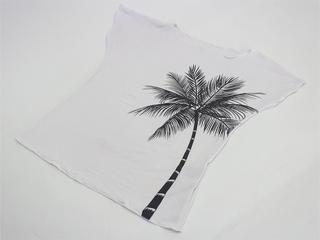 ノースリーブストレッチTシャツ パームツリーホワイト