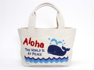 フララニ(Hula Lani)キャンバス トートバッグ サガラ刺繍Alohaホエール