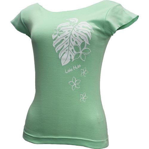 ララフラ カットオフストレッチTシャツ モンステラ&プルメリア シャーベットグリー