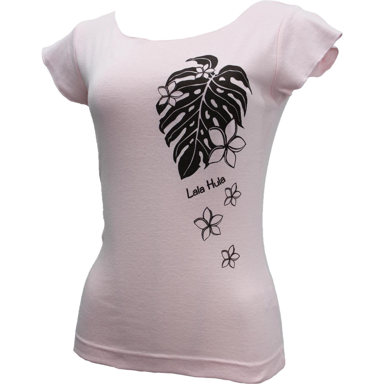 ララフラ カットオフストレッチTシャツ モンステラ&プルメリア シャーベットピンク