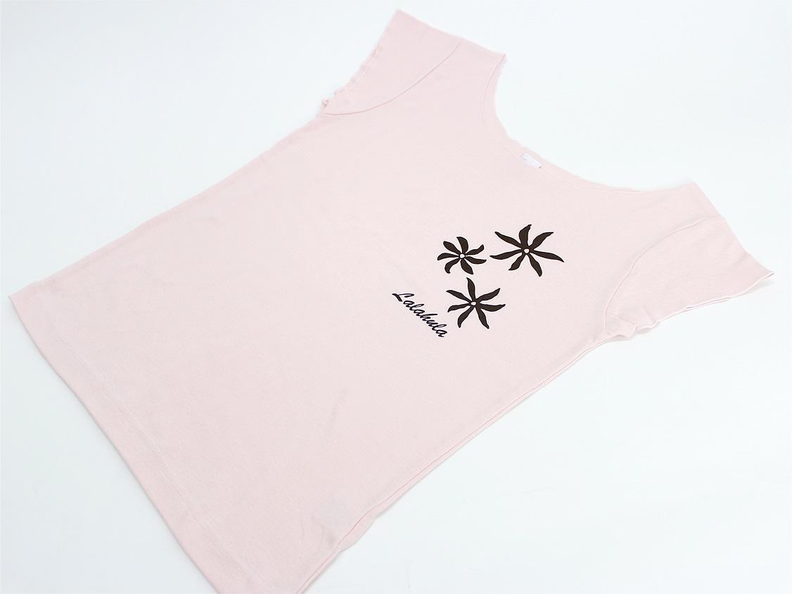 ララフラ カットオフストレッチTシャツ ティアレ シャーベットピンク