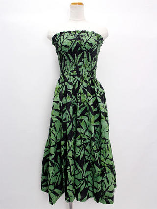 Lahaina ティアードドレス ブラックグリーン