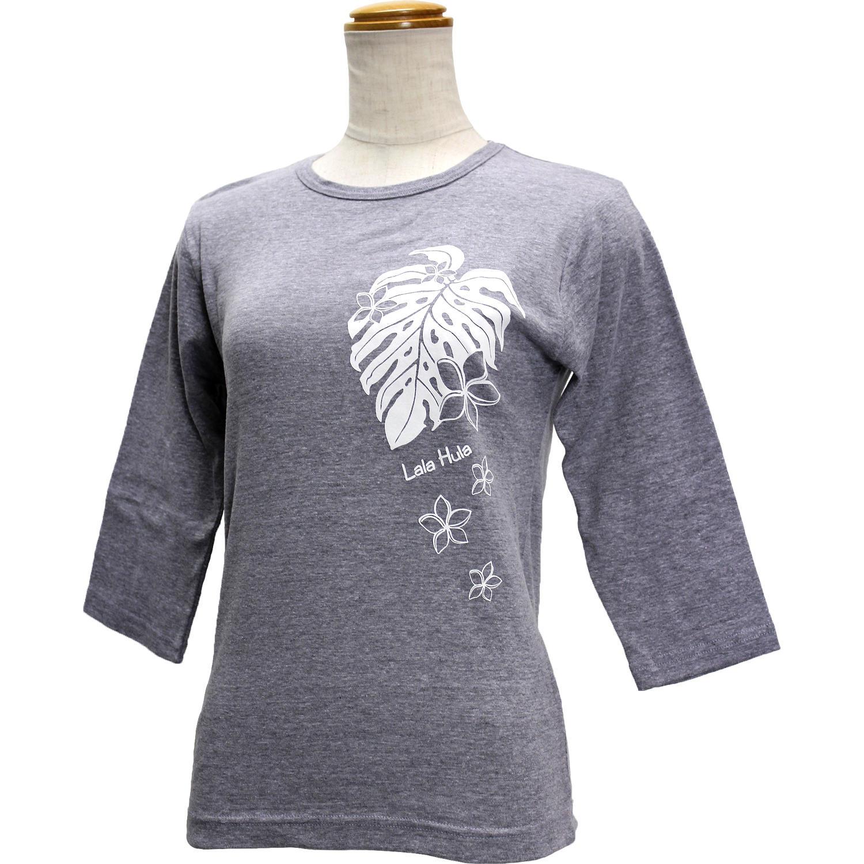 ララフラ 七分袖 ストレッチTシャツ モンステラ&プルメリア グレー