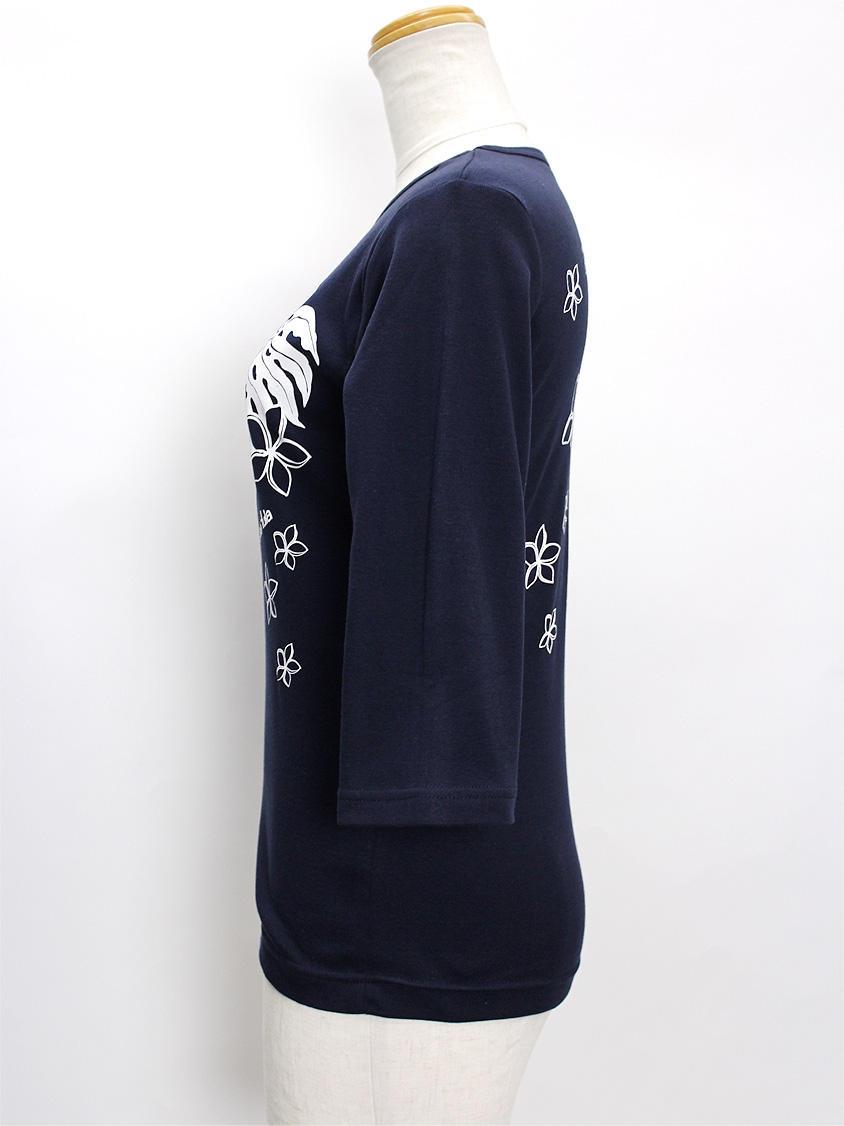 ララフラ 七分袖 ストレッチTシャツ モンステラ&プルメリア ネイビー