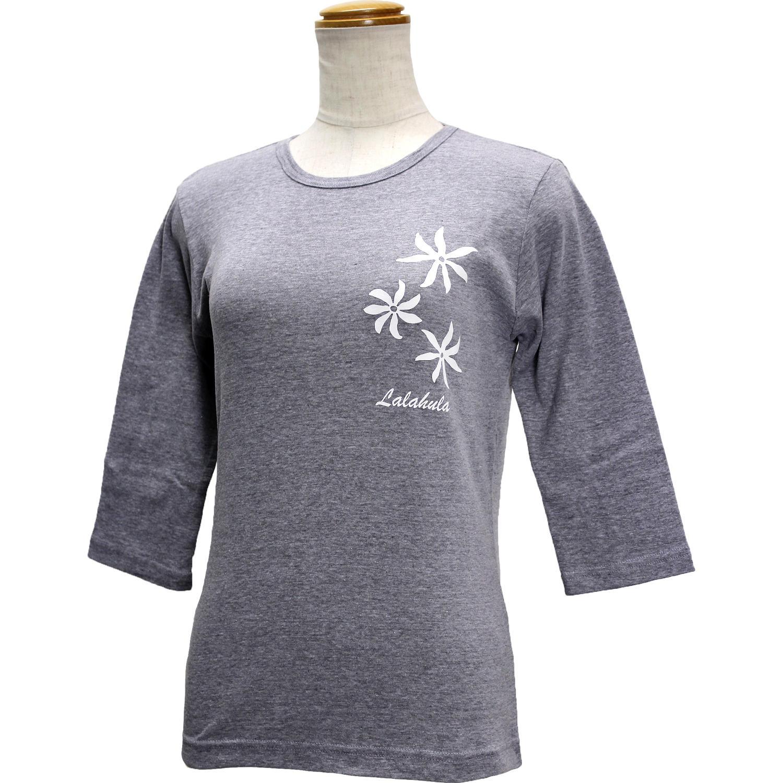 ララフラ 七分袖 ストレッチTシャツ ティアレ グレー