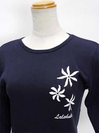 ララフラ 七分袖 ストレッチTシャツ ティアレ ネイビー