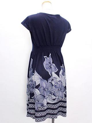 PUKANA ショート スタイリッシュVネックドレス フラワーネイビー