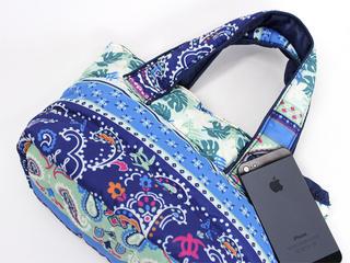 フララニ(Hula Lani)ミニミニトートバッグ ホヌペイズリー ブルー