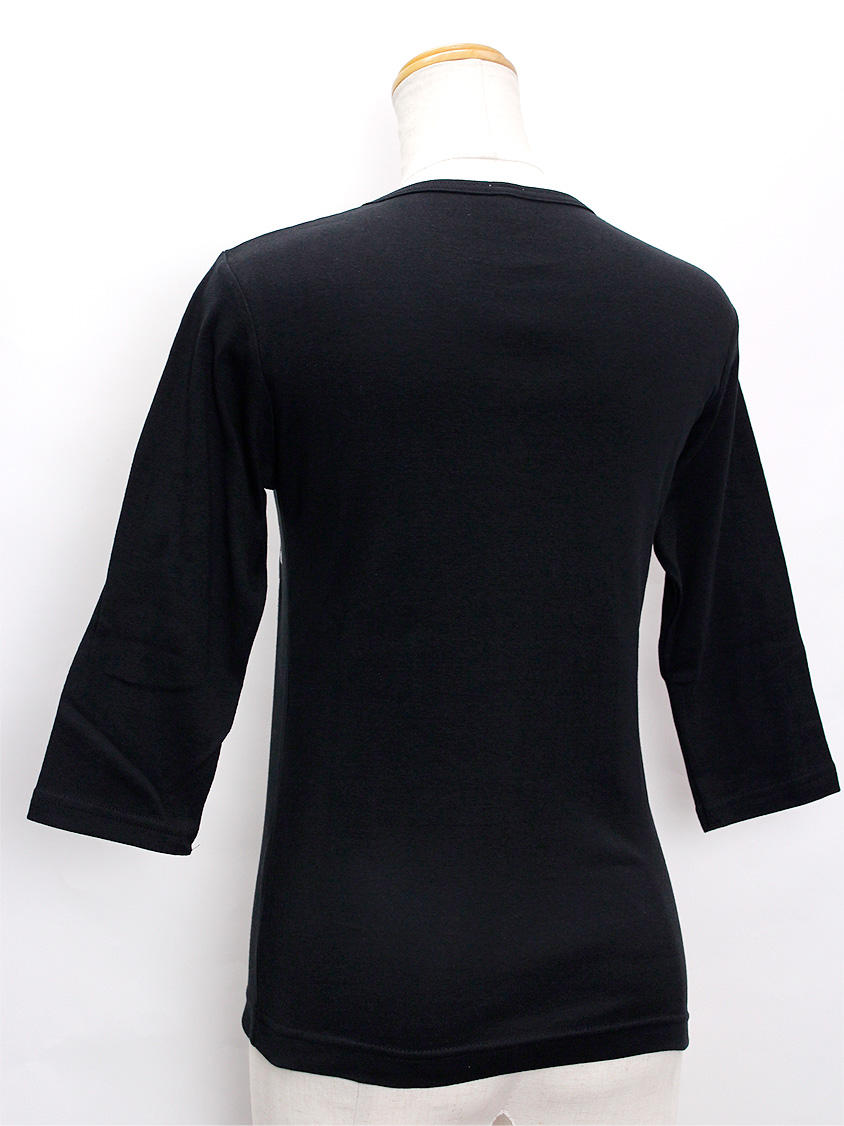 ララフラ 七分袖 ストレッチTシャツ ティアレ ブラック