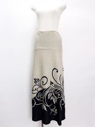 PUKANA 2wayドレスワンピーススカート フローティングフラワー ベージュブラック