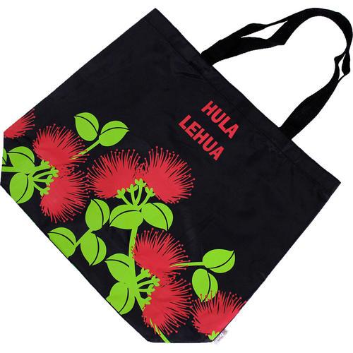 フラレフア(Hula Lehua)ポケッタブルエコバッグ レフアブラック