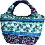 フララニ(Hula Lani)Mサイズトートバッグ ホヌペイズリー ブルー