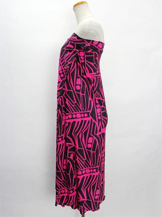 巻きスカート風ドレスワンピース ニュースタイル ブラックピンク