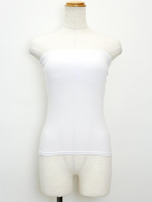フラタヒチアン ブラカップ付きチューブトップ 白/黒 大きめL&XLサイズ