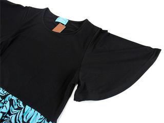 Lahaina Tシャツドレスワンピース フラワーリーフ ターコイズブラック