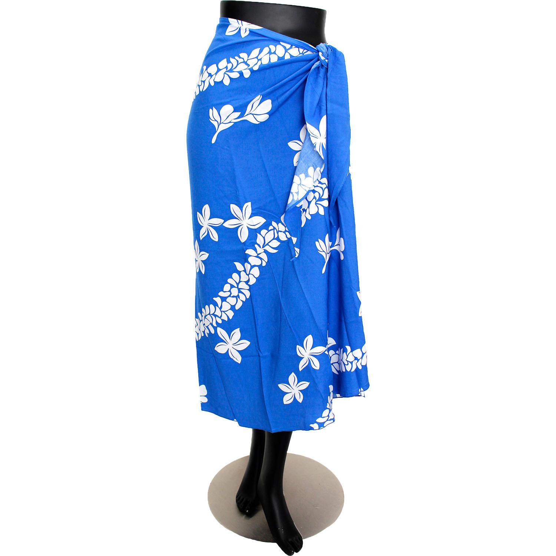 PUKANA 3wayイージーパレオスカート フラワーレイブルー