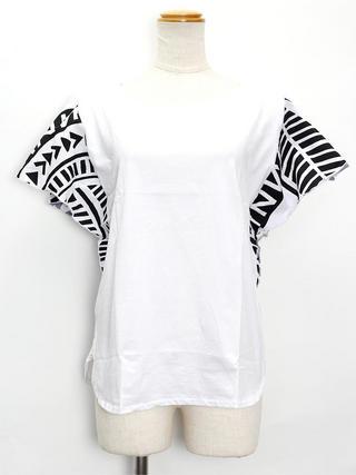 PUKANA ワイドスリーブTシャツ ハワイアンタパホワイト