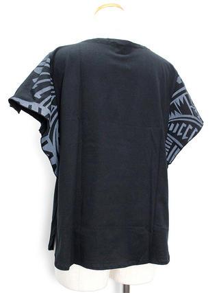 PUKANA ワイドスリーブTシャツ ハワイアンタパブラック