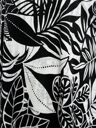 Lahaina ラウンドチュニック ハワイアンリーフ ブラックホワイト