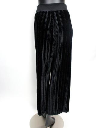 Lahaina ベロアプリーツワイドパンツ ブラック