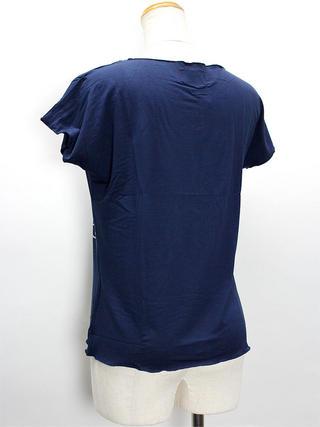 Lahaina ノースリーブストレッチTシャツ タパプルメリアネイビー