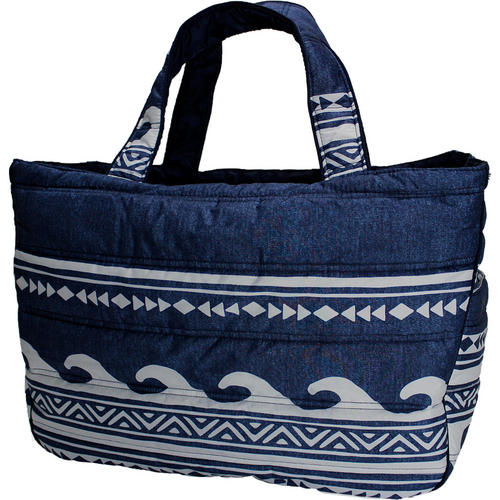 フララニ(Hula Lani)Lサイズトートバッグ ハワイアンウェーブ デニムネイビー