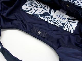 フララニ(Hula Lani)Mサイズトートバッグ ブレッドフルーツボーダー ネイビー