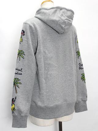 アロハメイド(Aloha MADE) 裏毛プルパーカー パームツリーフラガール グレー
