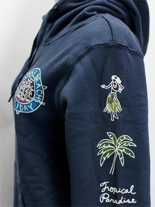 アロハメイド(Aloha MADE) 裏毛プルパーカー パームツリーフラガール ネイビー