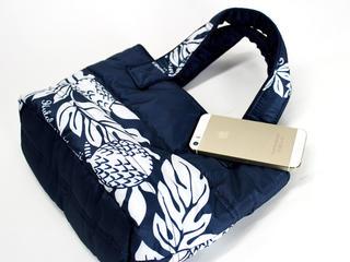 フララニ(Hula Lani)ミニミニトートバッグ ブレッドフルーツボーダー ネイビー