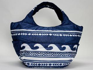 フララニ(Hula Lani)Mサイズトートバッグ ハワイアンウェーブ デニムネイビー