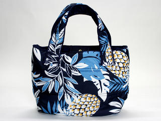 フララニ(Hula Lani)ミニミニトートバッグ ハワイアンパインリーフ ネイビー