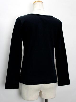 PUKANA ロングスリーブストレッチTシャツ プルメリアブラック