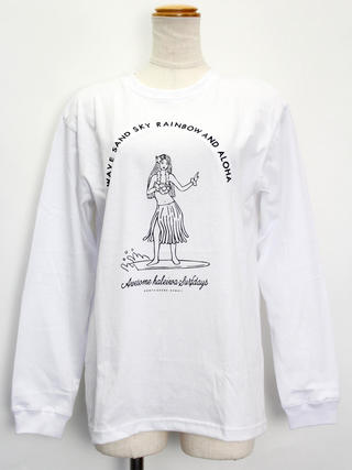HALEIWA ロングスリーブTシャツ フラガールホワイト