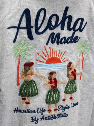 アロハメイド(Aloha MADE)裏毛ジップアップパーカー フラガール グレー