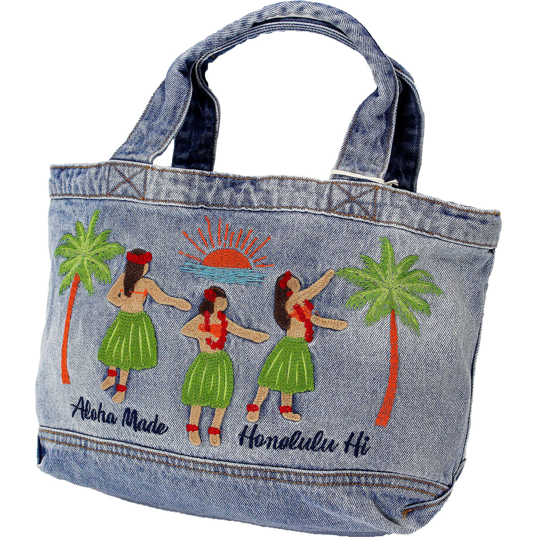 アロハメイド(Aloha MADE)デニムトートバッグ フラガール サックスブルー