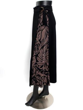 ラップ風切り替えスカート タパリーフ ブラックブラウン
