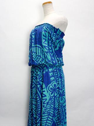 Lahaina ブラウジングドレスワンピース タパサークル ブルー