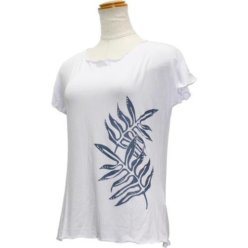 Lahaina ノースリーブストレッチTシャツ ラウアエリーフ ホワイト