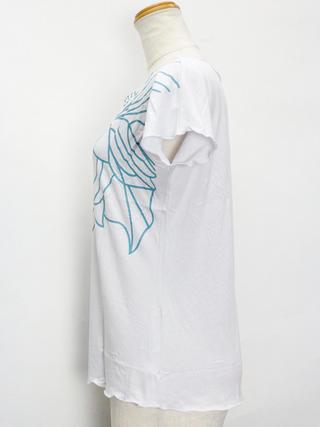 Lahaina ノースリーブストレッチTシャツ ハイビスカスシェード ホワイト