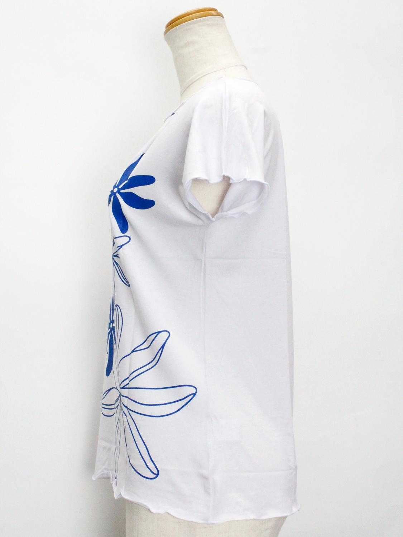 Lahaina ノースリーブストレッチTシャツ ビッグティアレ ホワイト