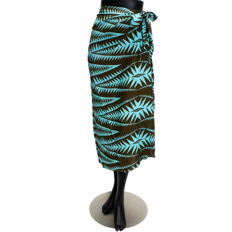 Lahaina 3wayイージーパレオスカート 総柄トライバル ターコイズブラウン