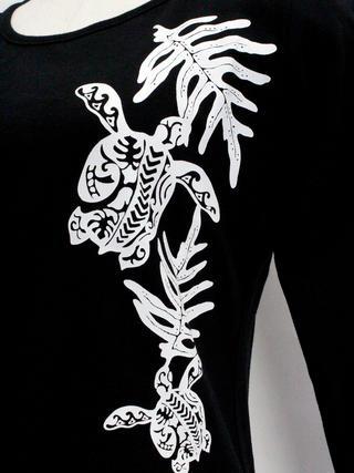 PUKANA 七分袖 ストレッチTシャツ ホヌ ブラック