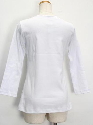 PUKANA 七分袖 ストレッチTシャツ ティアレ ホワイト
