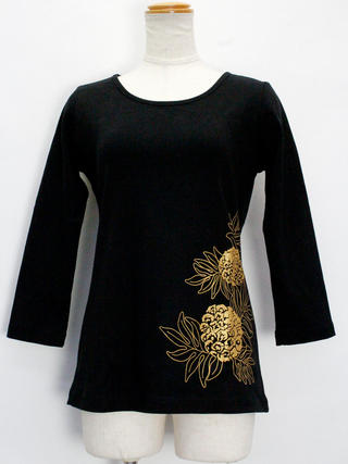PUKANA 七分袖 ストレッチTシャツ ウル ブラック
