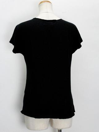 Lahaina ノースリーブストレッチTシャツ ハイビスカスシェード ブラック