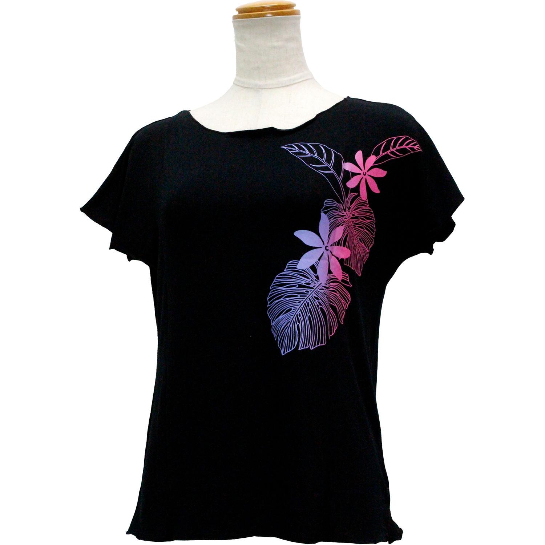 Lahaina ノースリーブストレッチTシャツ ティアレグラデーション ブラック