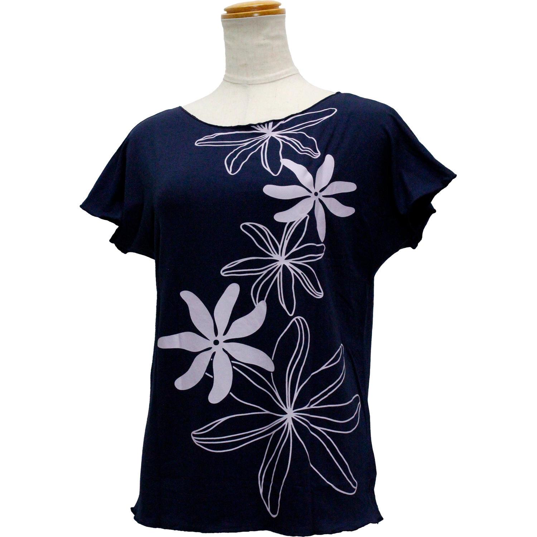 Lahaina ノースリーブストレッチTシャツ ビッグティアレ ネイビー