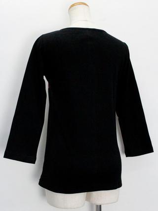 PUKANA 七分袖 ストレッチTシャツ ティアレグラデーション ブラック